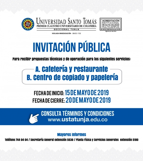 Public Invitation: Cafeteria and restaurant / copy center and stationery