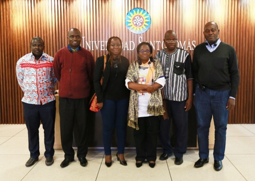 from left to right: Mr. Yombi Ouedraogo - United Nations Counselor, Fray Benjamin SOMBEL SARR OP - Prior Provincial of St. Augustine in West Africa, Mrs. Mariette Miningou - Director of Higher Education Teaching in Burkina Faso, Mrs. Virgine Affoue Konandri - Professor, Mr. Noel Ouedraogo - Professor of French Fray Cirille Ayayi Kponyo-Hillah OP