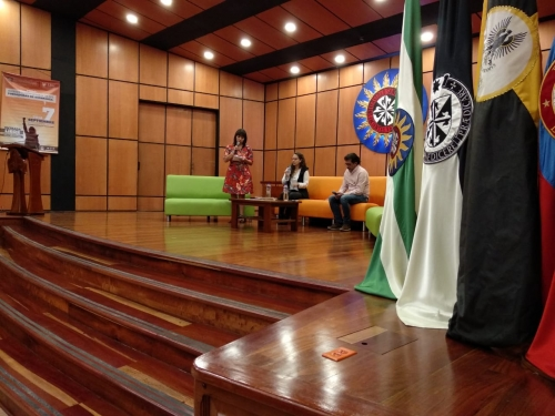 "Lyda Pulido, Director of the Pablo VI Justice and Peace Institute, in the panel discussion with Adriana Cely (sister of Rosa Elvira Cely, victim of feminicide) and Fernando Gónzalez Santos, author, author of the book ""Life is Pink: the dark Dawn of Rosa Elvira Cely in the National Park of Bogotá ""."